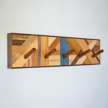 Reclaimed Wood Mosaic Coat Rack
