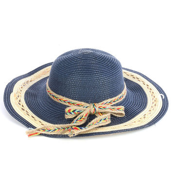 Braided Color Yarn Trim Floppy Straw Hat Navy Blue