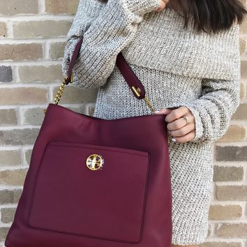 Tory Burch Chelsea Chain Hobo Large Tote Imperial Garnet Burgundy