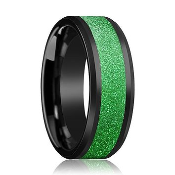 Black Ceramic Ring - Sparkling Green Inlay - Ceramic Wedding Band - Beveled - Polished Finish - 8mm - Ceramic Wedding Ring