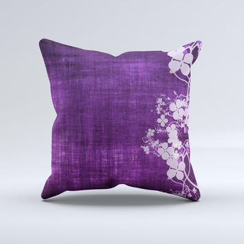 Dark Purple with Sketched Floral Pattern Ink-Fuzed Decorative Throw Pillow