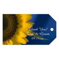 Sunflower on Blue Wedding Favor Tags