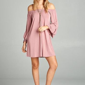 Boho Off Shoulder Tie Long Sleeve Jersey Dress