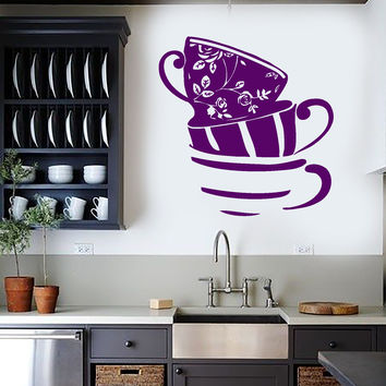 Vinyl Wall Decal Tea Cups House Kitchen Art Decoration Stickers Murals Unique Gift (ig4875)
