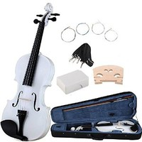 ADM 4/4 Full Size Handcrafted Solid Wood Student Acoustic Violin Starter Kit( Hard Case, Extra Strings, Rosin, Two Bridges), Popular Varnish Finish for Beginners, White
