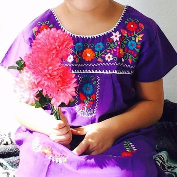 Mexican Embroidered Traditional Dress for Girls Size 4