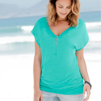 Green Zipped V-Neck Short Sleeve Blouse