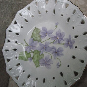 "Violet 8.5"" Plate openwork ruffled Purple violets Candy dish/ bowl Porcelain Ceramic Pottery Hand Painted and kiln fired by B Marsh"