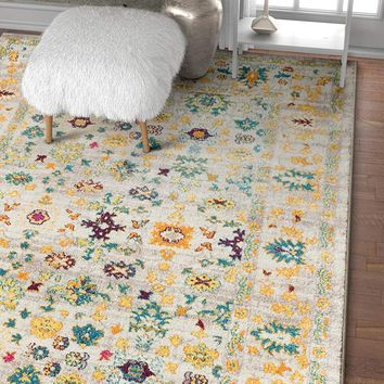 2952 Gold Yellow Floral Persian Area Rugs