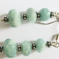 Amazonite earrings, sterling silver flower spacers with graduated green amazonite beads, UK shop