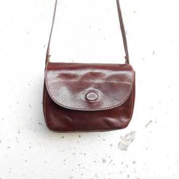 Vintage THE TREND Cognac Brown Leather Purse , Crossbody , Shoulder Bag // Small // Made in Italy