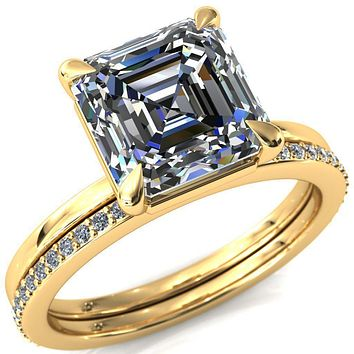 Lyla Asscher Moissanite 4 Claw Prong Solitaire Ring