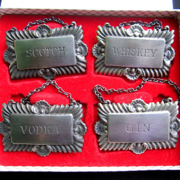 Metal Whiskey Labels Bar Tags Vodka Scotch Gin Vintage JEP Set Fathers Day Gift