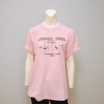 Vintage 1993 Boonville-Oneida County Fair T-Shirt Light Pink Size Large New York Carousel Pony Merry-Go-Round Tshirt