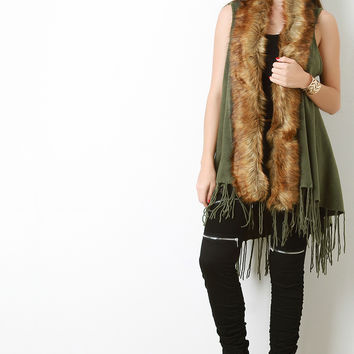 Faux Fur Collar Knitted Fringe Trim Vest
