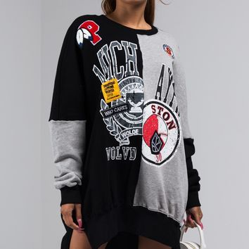 AKIRA Label Oversize Sweatshirt Dress with Collegiate Graphics and Patch Details