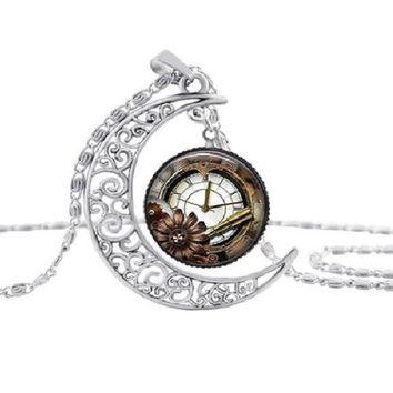 Steampunk Silver Moon Clock Glass Pendant Necklace