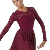 Pleated Skirt Long-Sleeve Lace Dress | Balera™