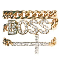 Rhinestone Boss Bracelet Set | Wet Seal