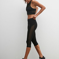 Mesh Paneled Capri Leggings