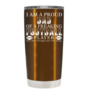 TREK Proud Dad of a Football Player on Copper 20 oz Tumbler Cup
