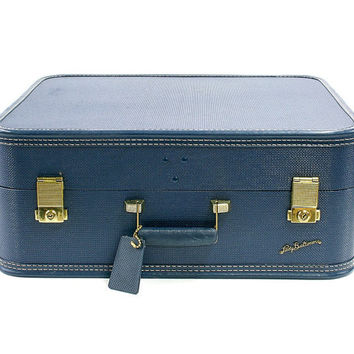 Vintage Blue Lady Baltimore Suitcase / Storage Suit Case / Stackable Luggage for Home Decor or Travel