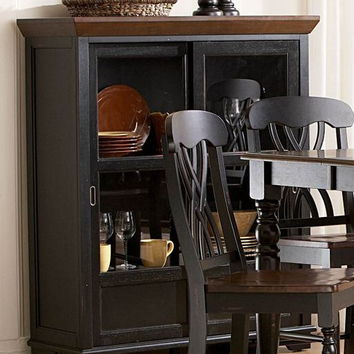 Home Elegance 1393BK-50 Ohana collection black and cherry finish wood curio side cabinet