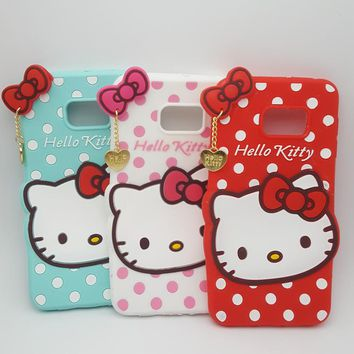 3D Lovely Cartoon Hello Kitty Polka Dot Soft Silicone Case For Samsung GALAXY S6 edge plus/S8/S8 Plus Rubber Cover phone cases