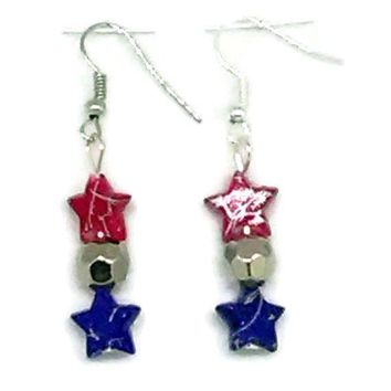 Patriotic Star and Faceted Round Beaded Earrings