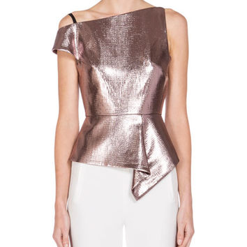 Roland Mouret Asymmetric One-Shoulder Peplum Top