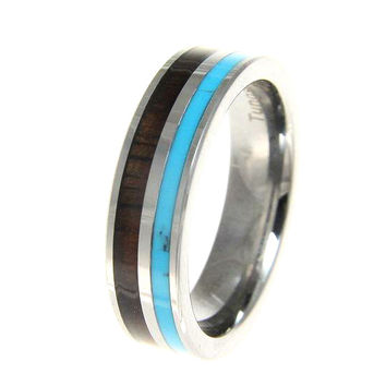 IANTHE Tungsten Wedding Band With Turquoise & Hawaiian Koa Wood Inlay 6mm