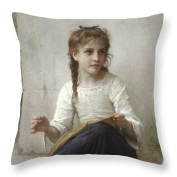 Sewing By Adolphe-William Bouguereau - Throw Pillow