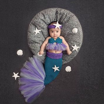Newborn Baby First Birthday Crochet Mermaid Picture Photography Props Outfits Infant Baby Photoshoot Studio Props Accessories