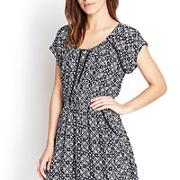 FOREVER 21 Tribal Print Pocket Dress Navy/Cream