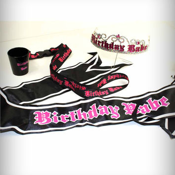 'Birthday Babe' Sash, Glitter Tiara, and Shot Glass Necklace Set