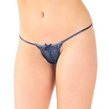 Coquette Stretch Lace Adjustable G-String w/Front Bow Navy
