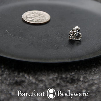 Paw Print Cartilage Earring, CZ Stud, #500-2