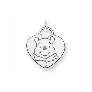 Disney's Sterling Silver Winnie the Pooh Solid Heart Charm