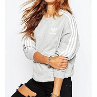 """""""Adidas"""" Fashion Male And Female Casual Show Thin Long Sleeve Women  Cotton Sweater"""
