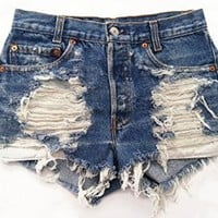 Women's Vintage Levi's Distressed Shredded Cut-Off Jean Shorts Grunge and Boho