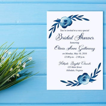 "Watercolor Bridal Shower Invitation - Couple's Wedding Shower Card ""Cotton Blossom"" Blue Wedding Bridal Shower - Watercolor Wedding"
