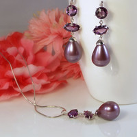Cultured Pearl Jewelry Set with Lavender Pearls, Amethysts, and Sterling Silver from LucyAlia's Bridal Closet