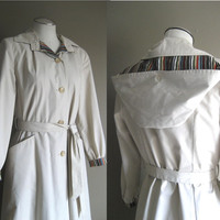 vintage 80s Jacket / Rain Trench Coat / Belted Spy Coat / Stripe Details / Ecru