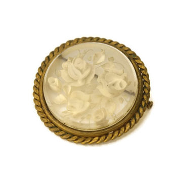 Art Deco Intaglio Brooch. Reverse Carved Rose Brooch. Art Deco Jewelry. Clear Lucite 3D Jewelry.