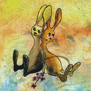 Bunny Love -  Fine Art Print cute baby bunny rabbits girls nursery room wall home decor shower gift ideas watercolor painting Oladesign 5x7