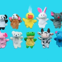10 Pc Soft Plush Animal Finger Puppet Set includes Elephant, Panda, Duck, Rabbit, Frog, Mouse, Cow, Bear, Dog, Hippo:Amazon:Toys & Games