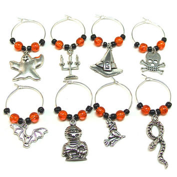 Orange Halloween Wine Glass Charms- 8 Day of the Dead Wine Charms, Mummy Wine Glass Tags, Halloween Decor, Bat, Ghost, Skull & Crossbones