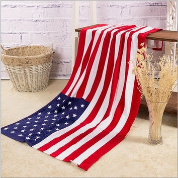 100% Cotton Beach Towel American (USA) National Flag Pattern Towels - TH-8805 (Size: 140cm by 70cm, Color: Multicolor)