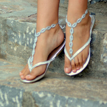 Crochet Barefoot Sandals,Chain Link -SILVER - Crochet Sandals, Bridal shoes, Anklet, Toe Ring, Yoga, Foot Thongs, Nude Shoes, Lace Sandals