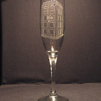 DR WHO Tardis inspired Champagne Flute Engraved Glass